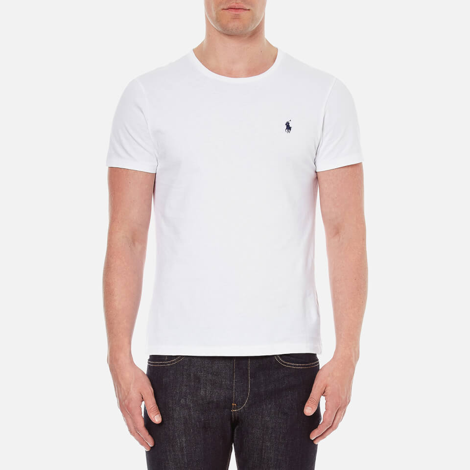 polo ralph lauren men 39 s short sleeved crew neck t shirt white free uk delivery over 50. Black Bedroom Furniture Sets. Home Design Ideas