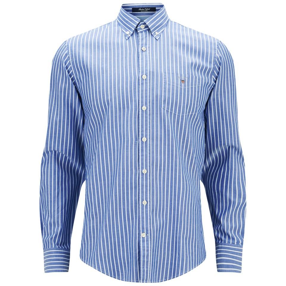 Gant men 39 s breton oxford shirt blue mens clothing for Mens oxford dress shirts