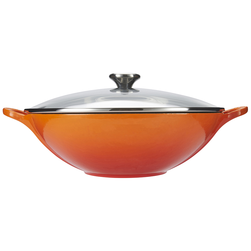 le creuset cast iron wok with glass lid 32cm volcanic homeware. Black Bedroom Furniture Sets. Home Design Ideas