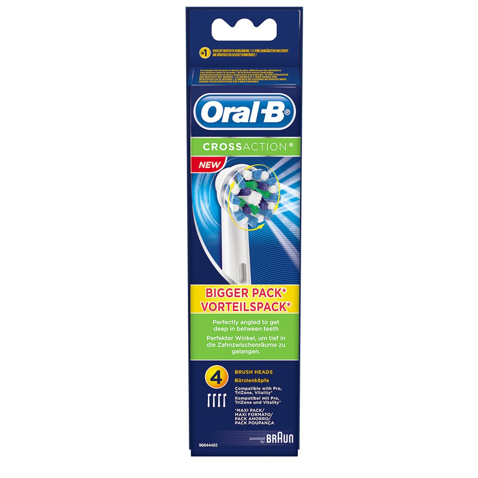 oral b cross action toothbrush head refills x4 health. Black Bedroom Furniture Sets. Home Design Ideas