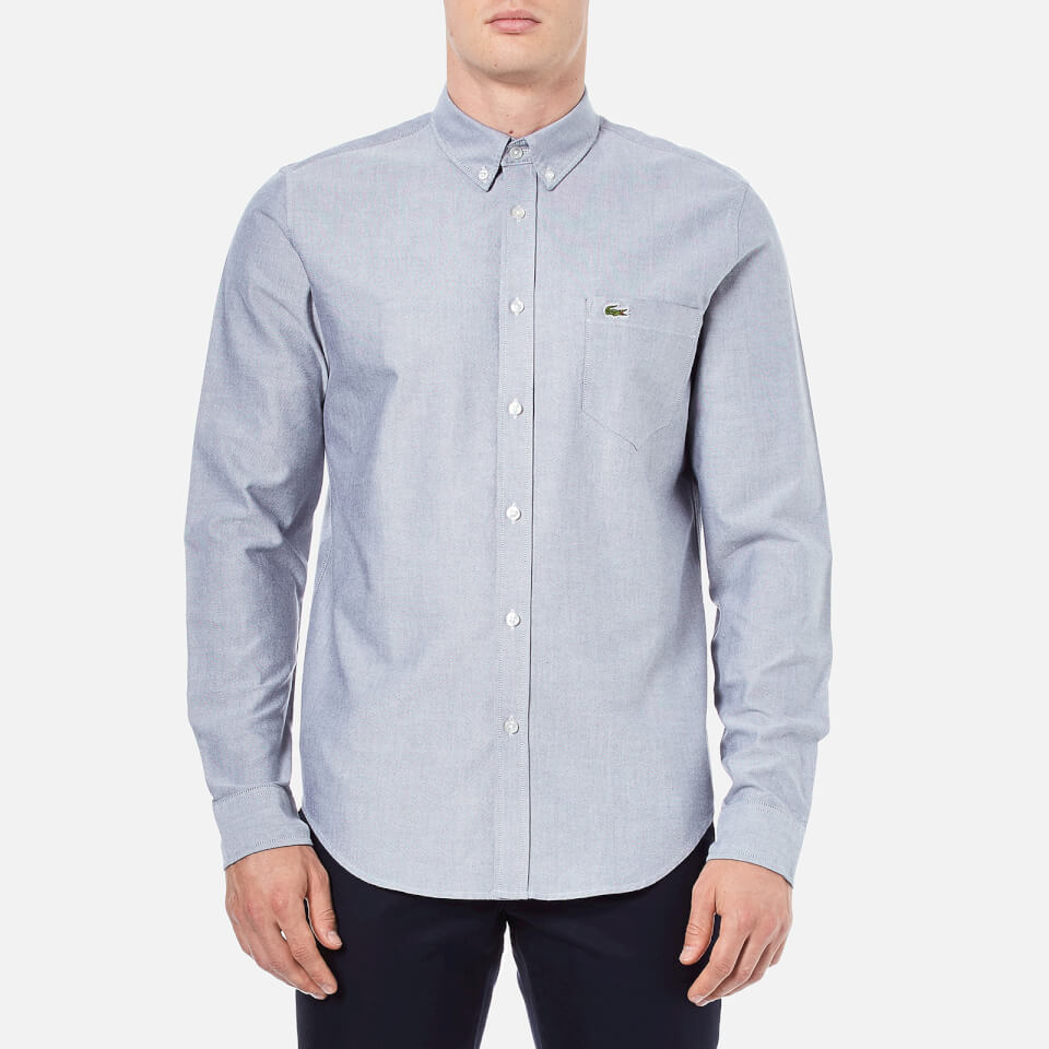 lacoste s oxford sleeve shirt navy mens