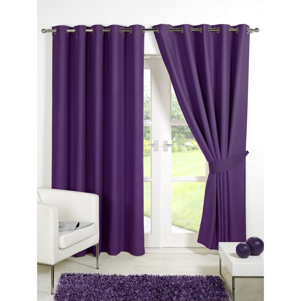 Dreamscene Blackout Eyelet Curtains Plum Iwoot