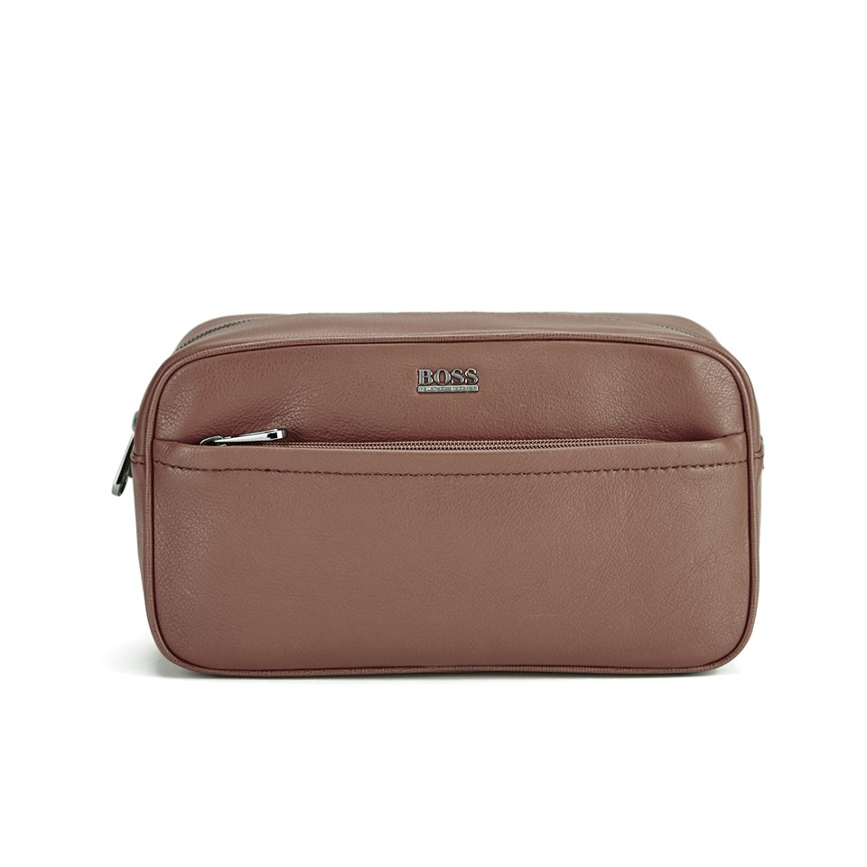 BOSS Hugo Boss Men s Monte Leather Washbag - Tan - Free UK Delivery over £50 684daec179fa0