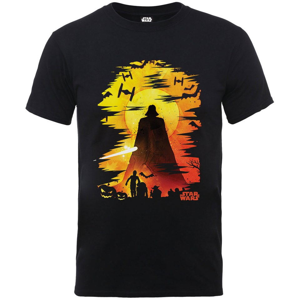 star wars men 39 s halloween darth vader silhouette t shirt black merchandise zavvi. Black Bedroom Furniture Sets. Home Design Ideas