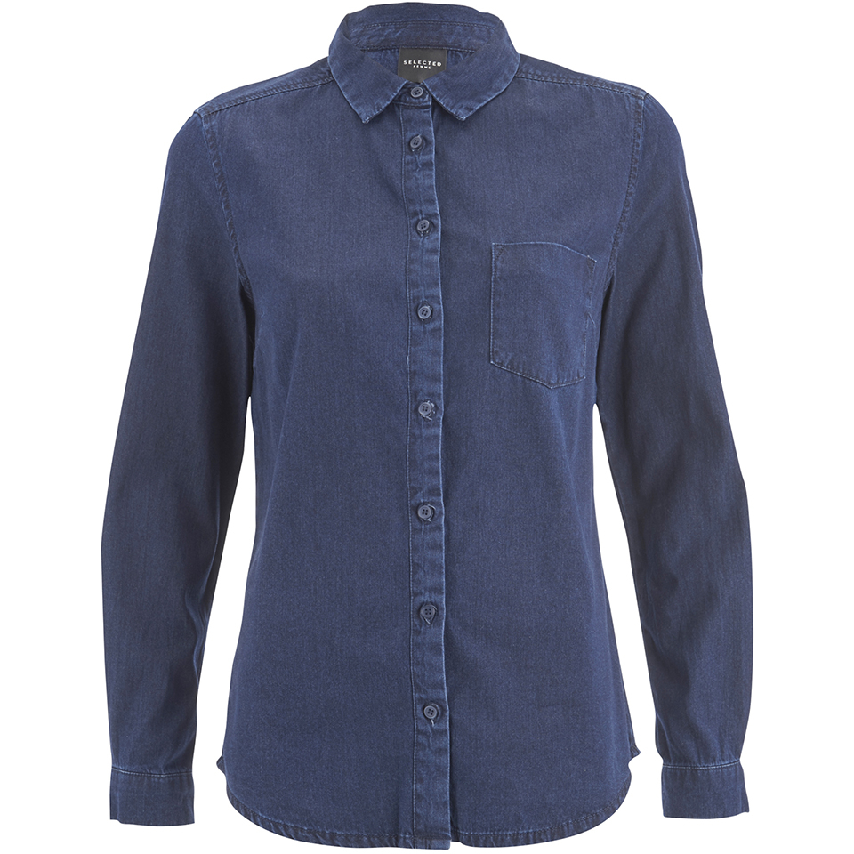 Selected Femme Women S Selma Denim Shirt Dark Blue Denim