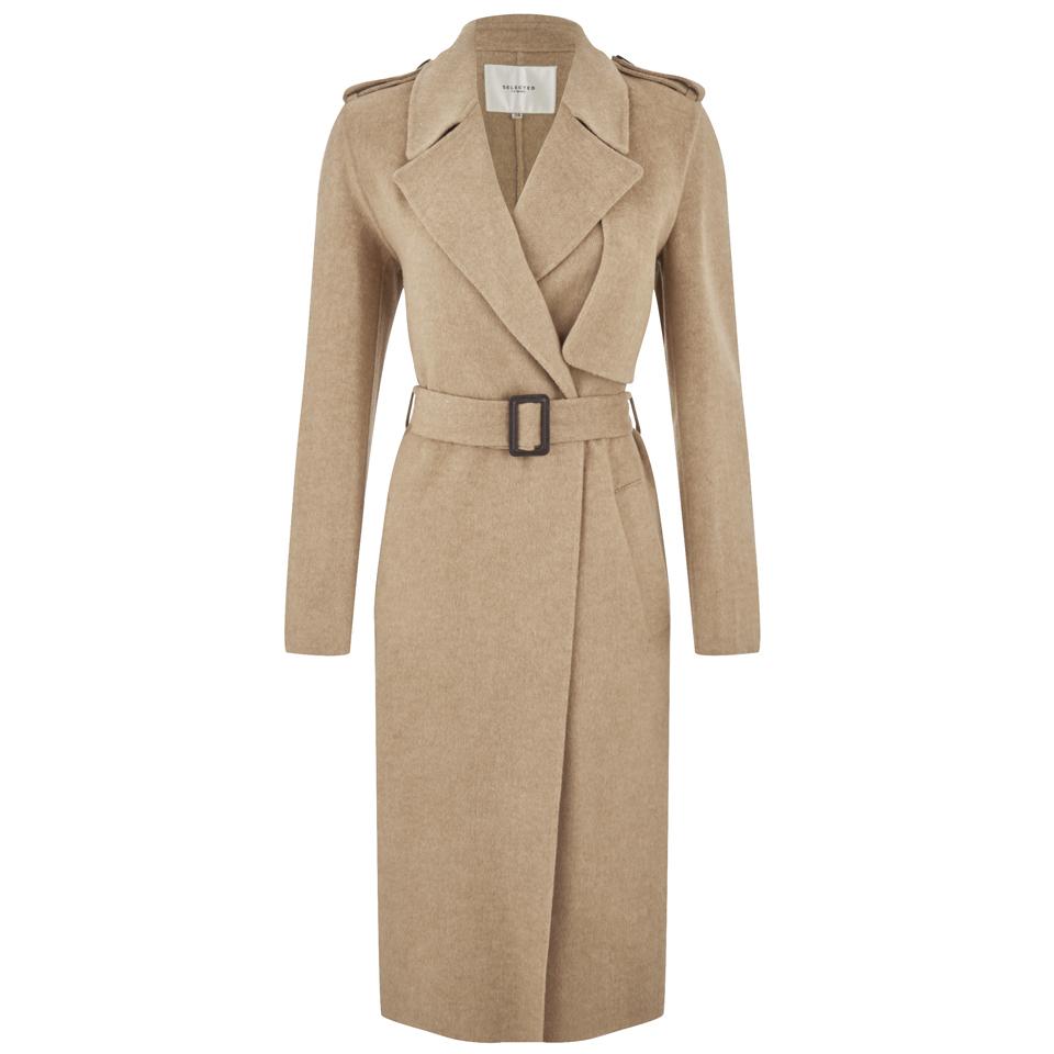 selected femme women 39 s tana trench coat camel free uk delivery over 50. Black Bedroom Furniture Sets. Home Design Ideas