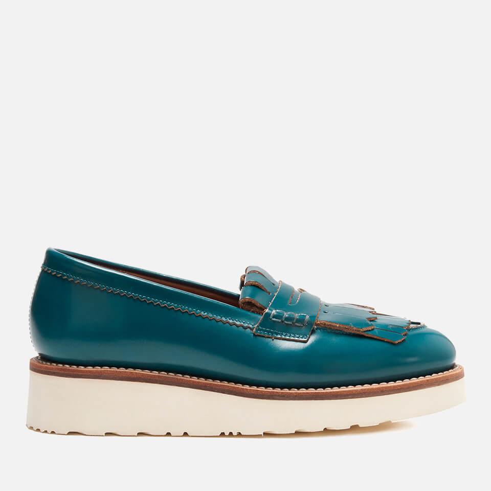 6897426aadb Grenson Women s Juno Leather Frill Loafers - Teal Rub Off - Free UK ...