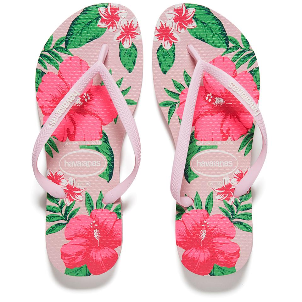 Havaianas Women S Slim Floral Flip Flops Crystal Rose