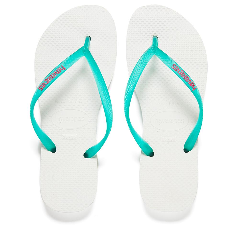 0a2dd25b4ec2a Havaianas Women s Slim Logo Flip Flops - White Lake Green Womens Footwear