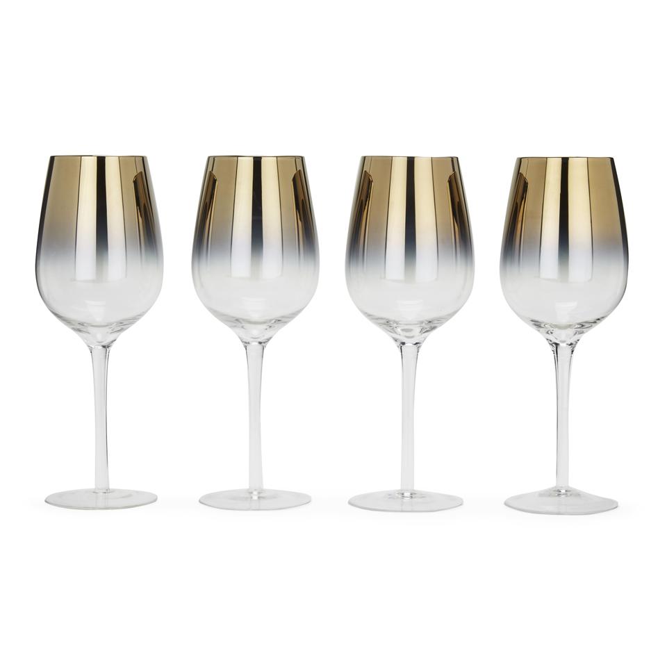 Elec Instrument Glass : Bark blossom two tone gold wine glasses set of