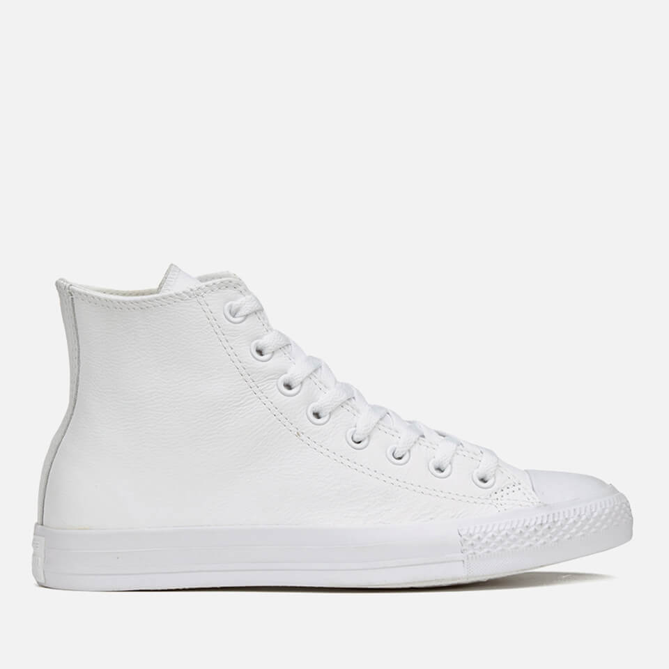 27c97618206e ... Converse Chuck Taylor All Star Leather Hi-Top Trainers - White  Monochrome