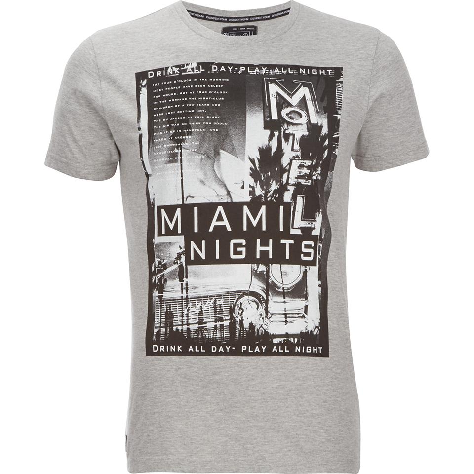Dissident men 39 s miami nights graphic print t shirt light for Miami t shirt printing
