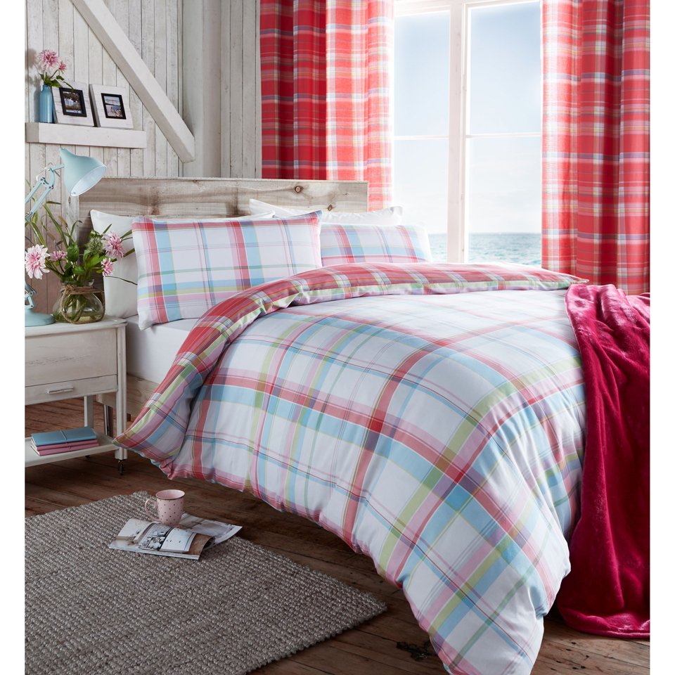 Catherine Lansfield St Ives Check Bedding Set Pink