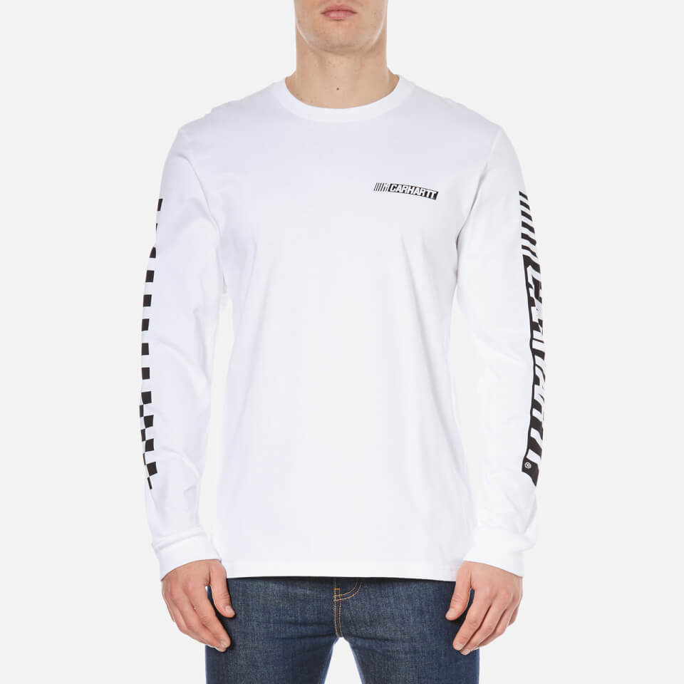 Carhartt men 39 s long sleeve cart t shirt white black for Carhartt long sleeve t shirts white