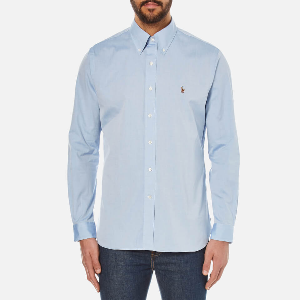 a8947804111c Polo Ralph Lauren Men s Custom Fit Button Down Pinpoint Oxford Shirt - Blue  - Free UK Delivery over £50