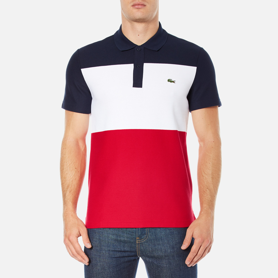 Lacoste men 39 s short sleeve bold stripe polo shirt navy for Red and blue t shirt