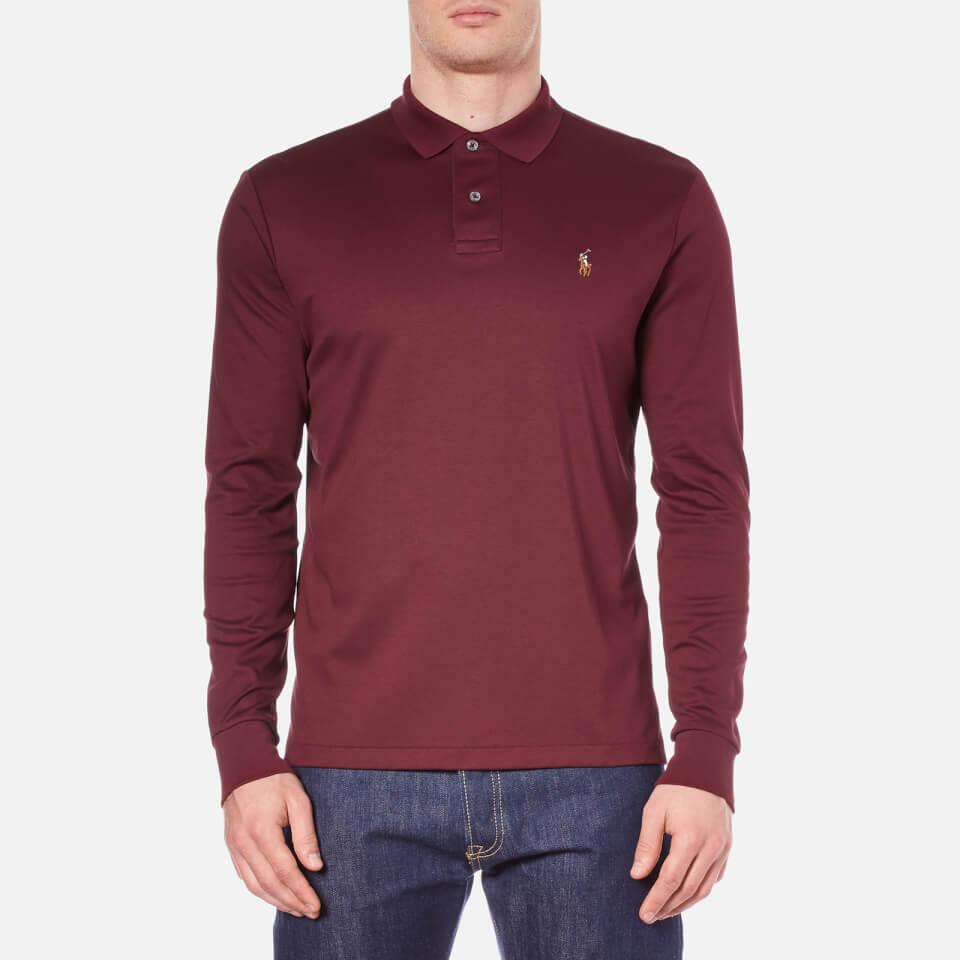 Polo ralph lauren men 39 s long sleeve custom fit polo shirt for Staples custom t shirts
