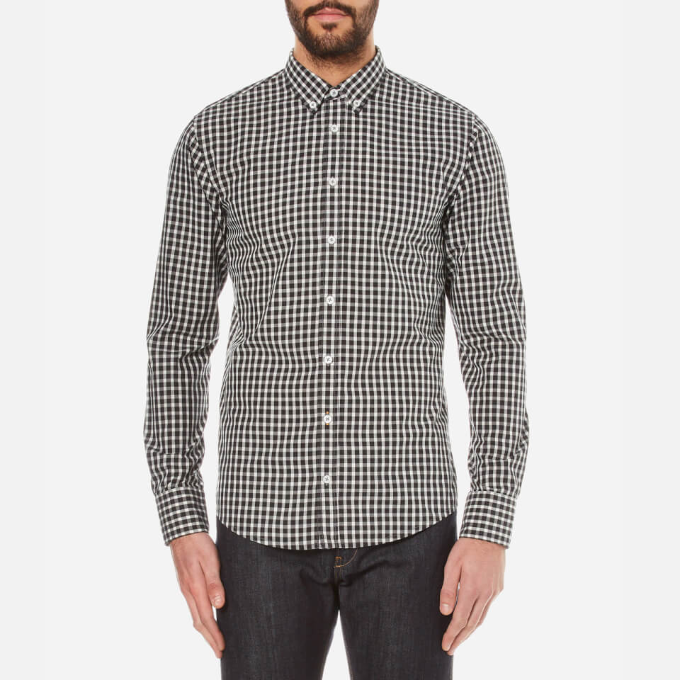 Boss orange men 39 s epidoe checked long sleeve shirt open for Long sleeve open shirt
