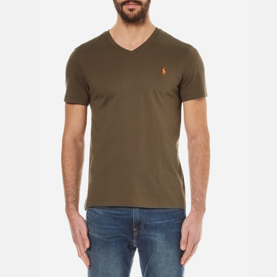 Polo ralph lauren men 39 s short sleeve custom fit v neck t for Staples custom t shirts