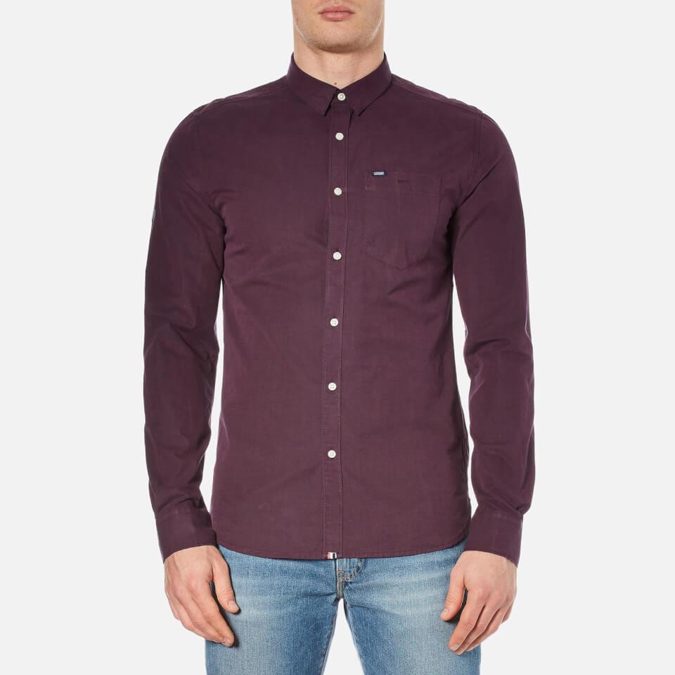 superdry s new vegas shirt maroon mens clothing