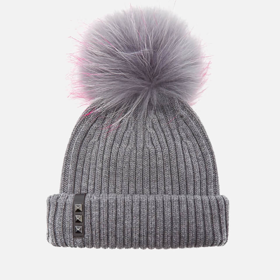 Bklyn Women S Merino Wool Hat With Grey Pink Pom Pom Mid
