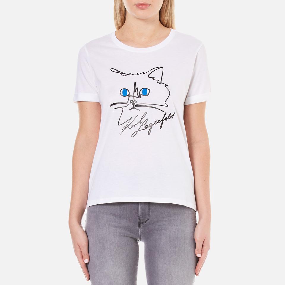 Karl Lagerfeld Womens Choupette Sketch T Shirt White Circuit Board Tshirt Computer Geek Tee Mens Clothing