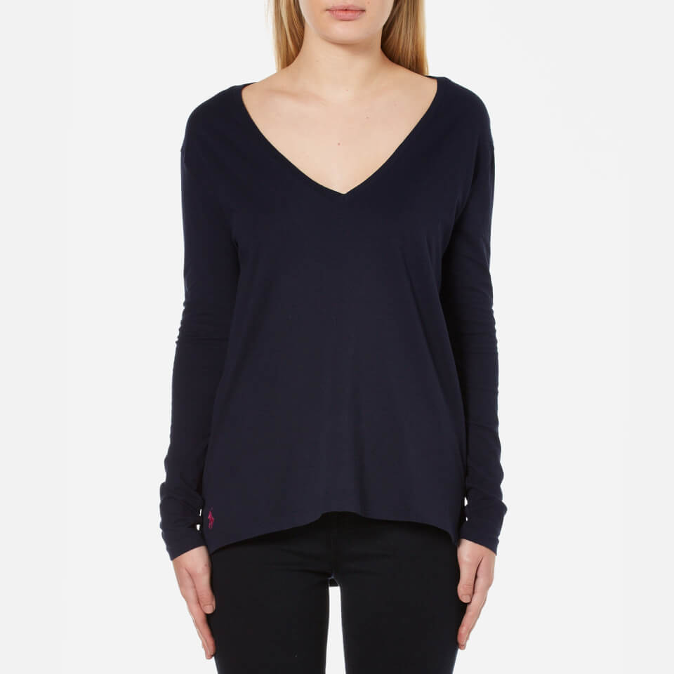 Polo Ralph Lauren Women s Long Sleeve V Neck T-Shirt - Hunter Navy - Free  UK Delivery over £50 e59e9f68bbbe