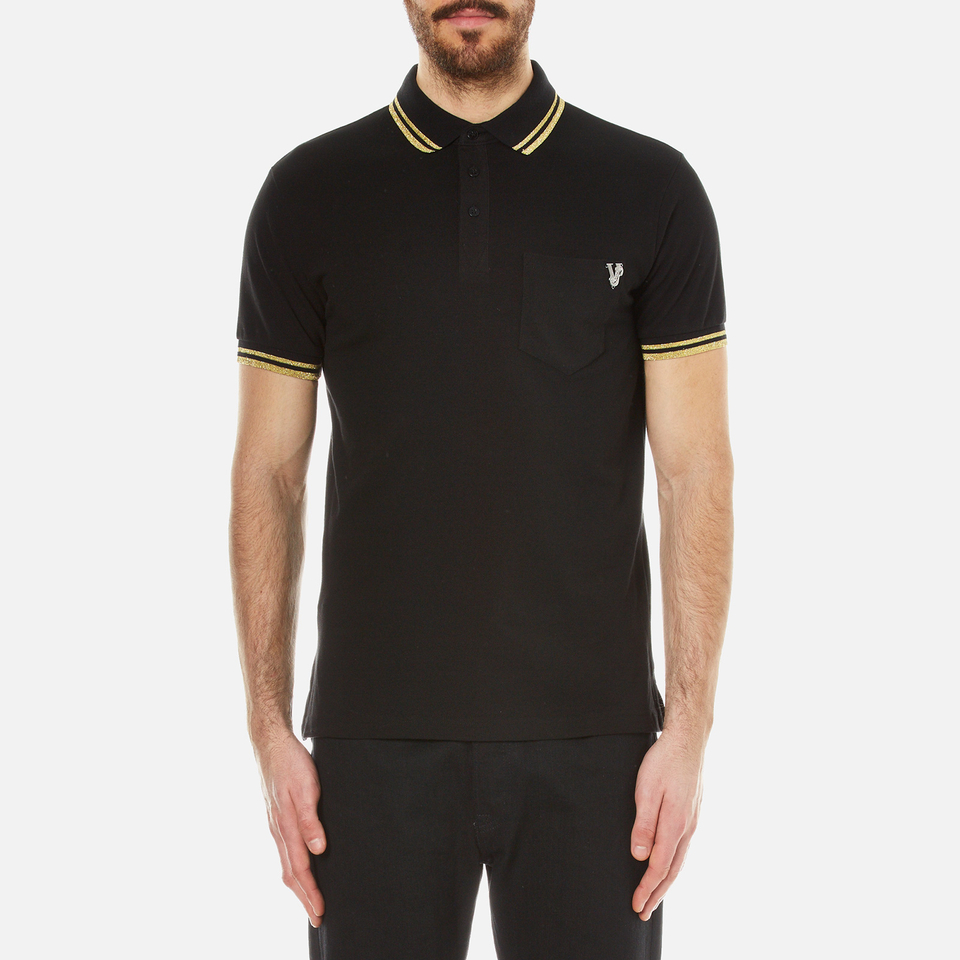 Versace Jeans Men S Small Logo Polo Shirt With Back Print