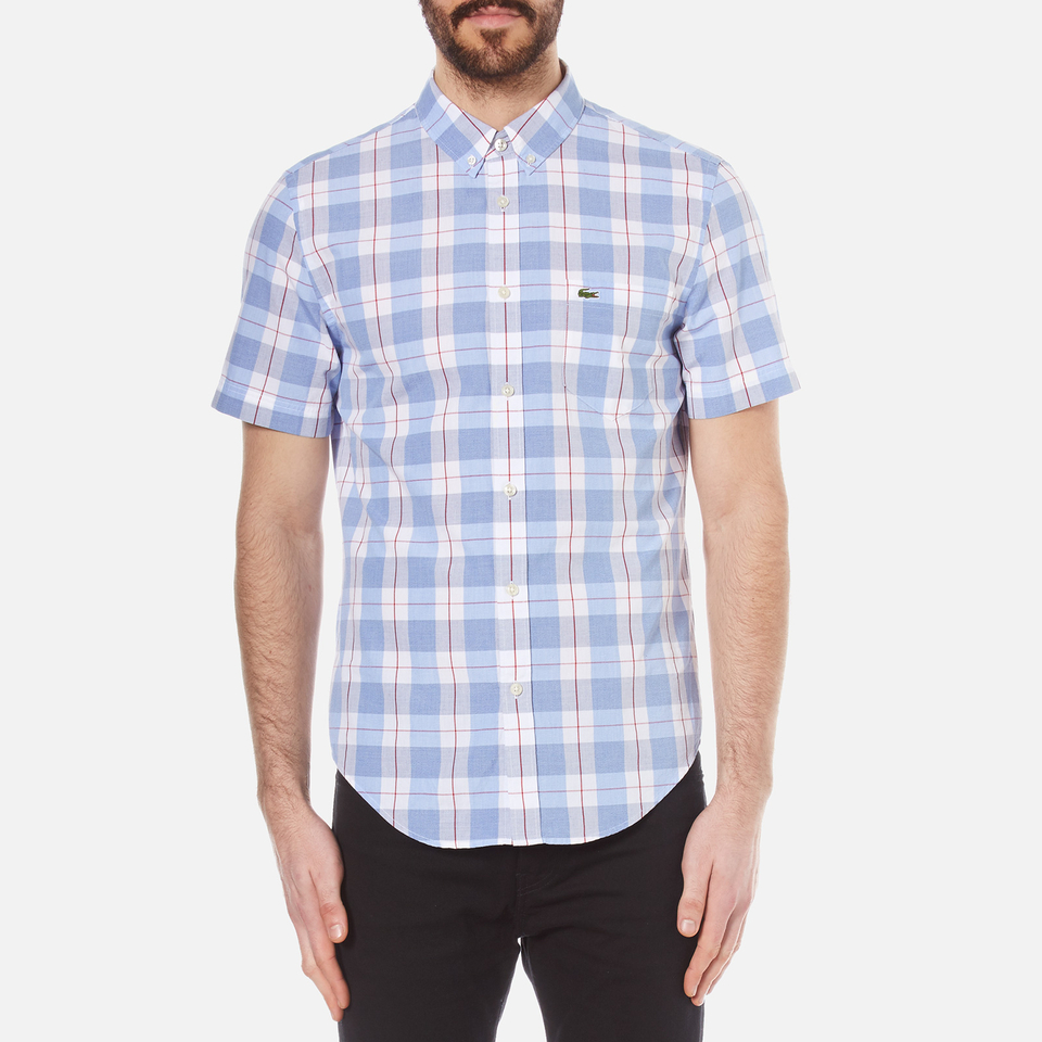 Lacoste Men 39 S Short Sleeve Check Shirt Methylene Flower