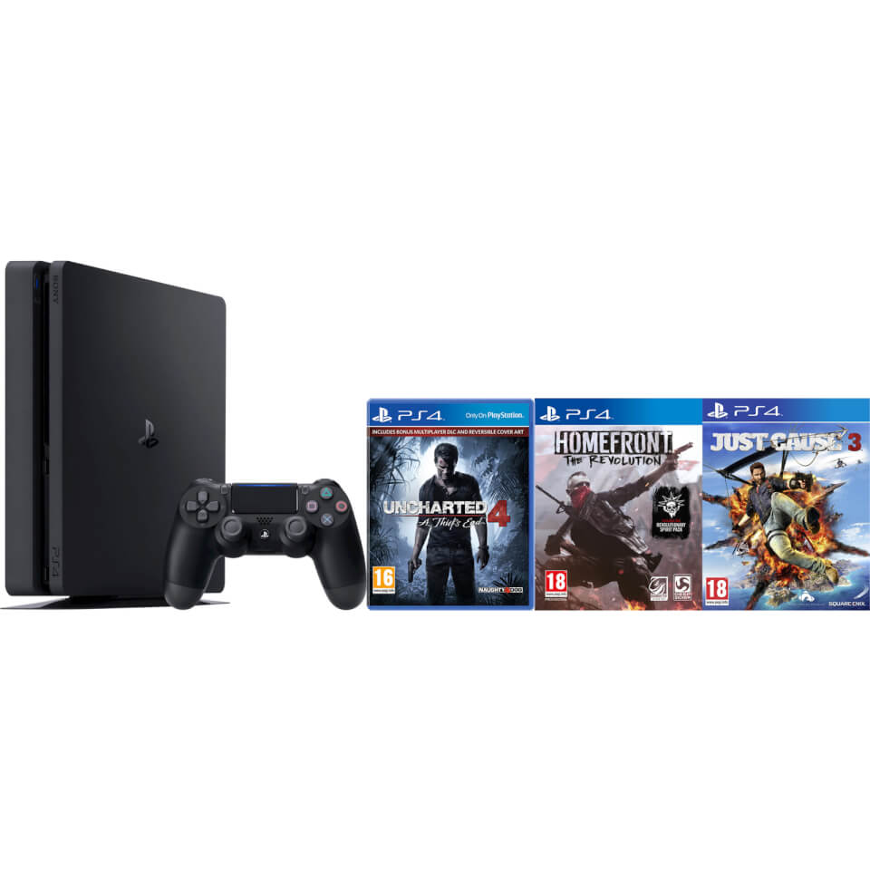 PlayStation 4 Slim 500GB with Uncharted 4, Homefront and Just Cause 3