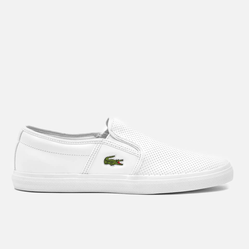 698e862d298e4d Lacoste Men s Gazon Bl 1 Leather Slip-On Trainers - White