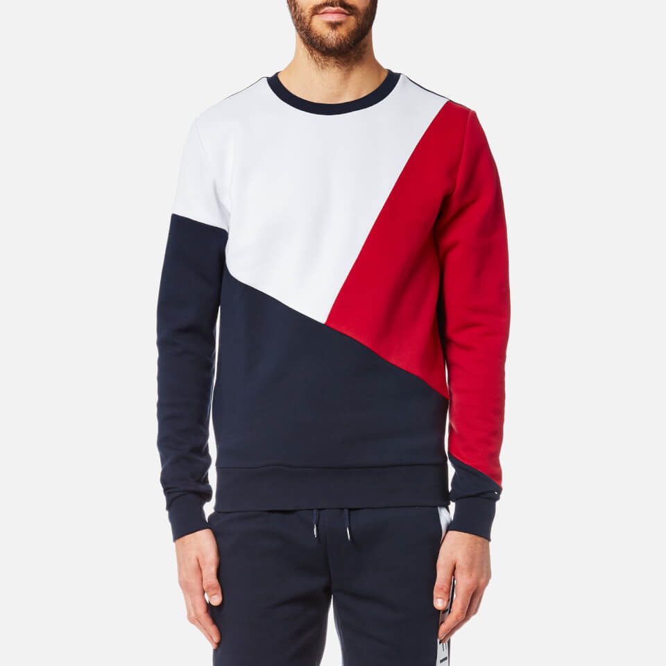 Tommy Hilfiger Men S Crew Neck Block Colour Sweater Navy