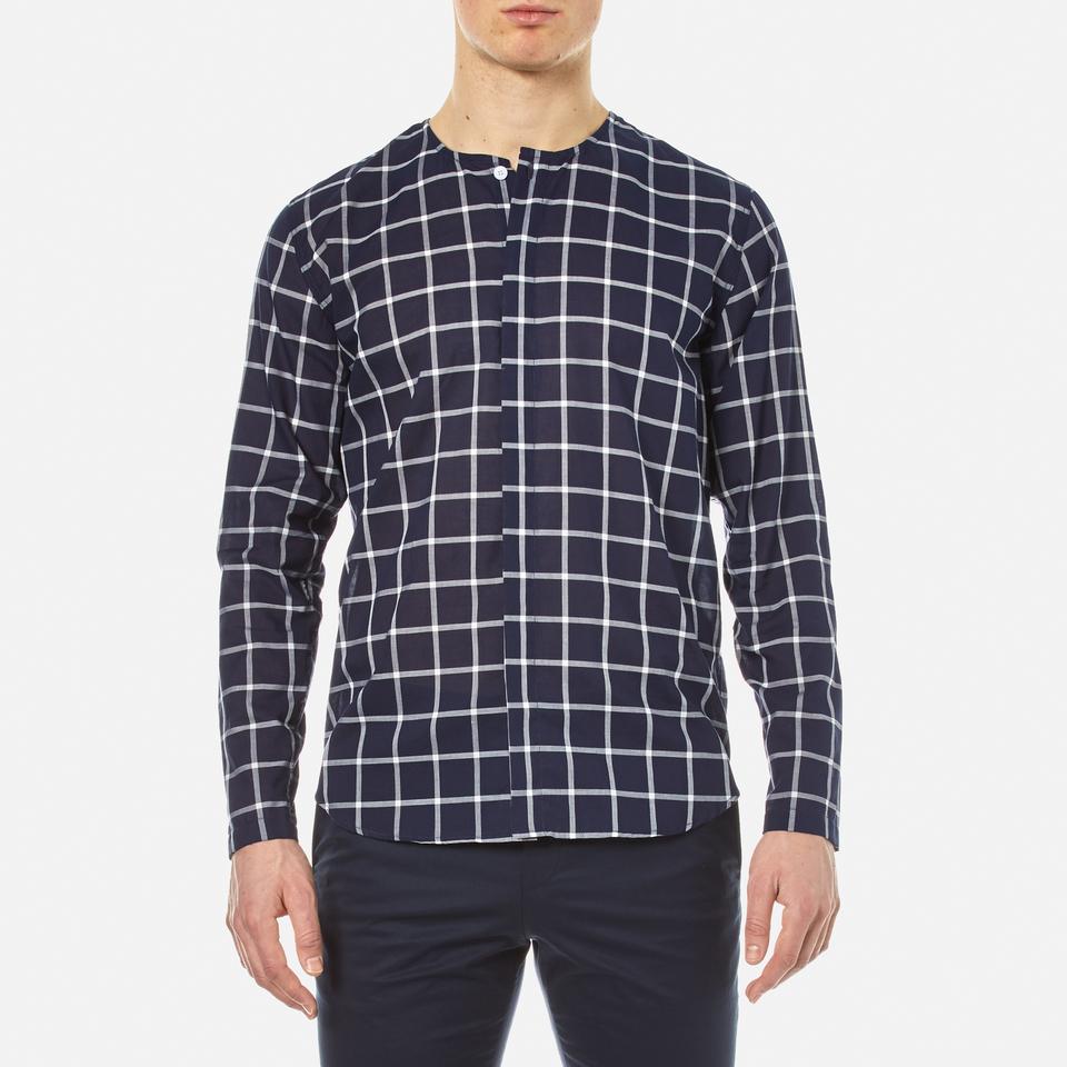 Folk men 39 s collarless shirt navy check free uk for Collarless shirts for men