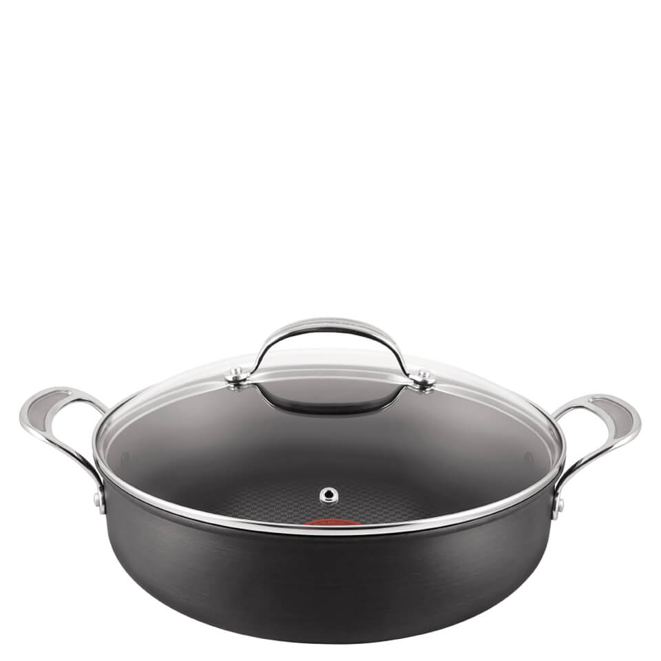 jamie oliver by tefal h9029044 hard anodised non stick shallow pan with lid 30cm iwoot. Black Bedroom Furniture Sets. Home Design Ideas