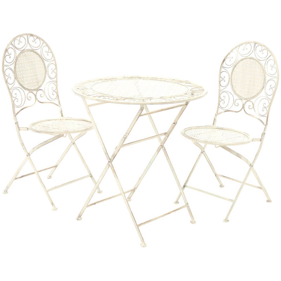 Finchwood jardin antique wrought iron table set 3 piece cream iwoot - Table jardin vintage montpellier ...