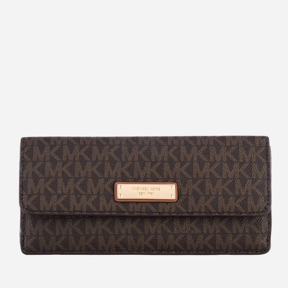 michael michael kors womens flat wallet brown