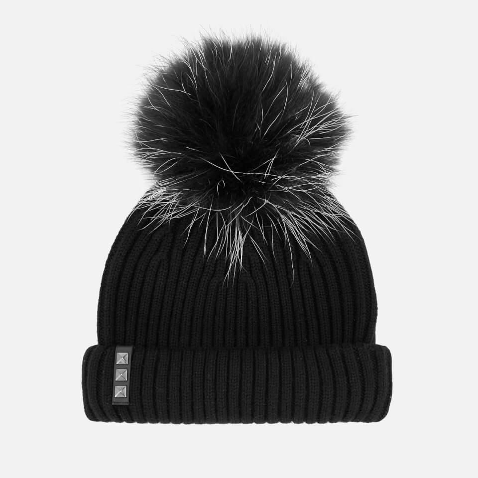 7b0c174d8 BKLYN Women's Merino Wool Hat with Black/White Pom Pom - Black