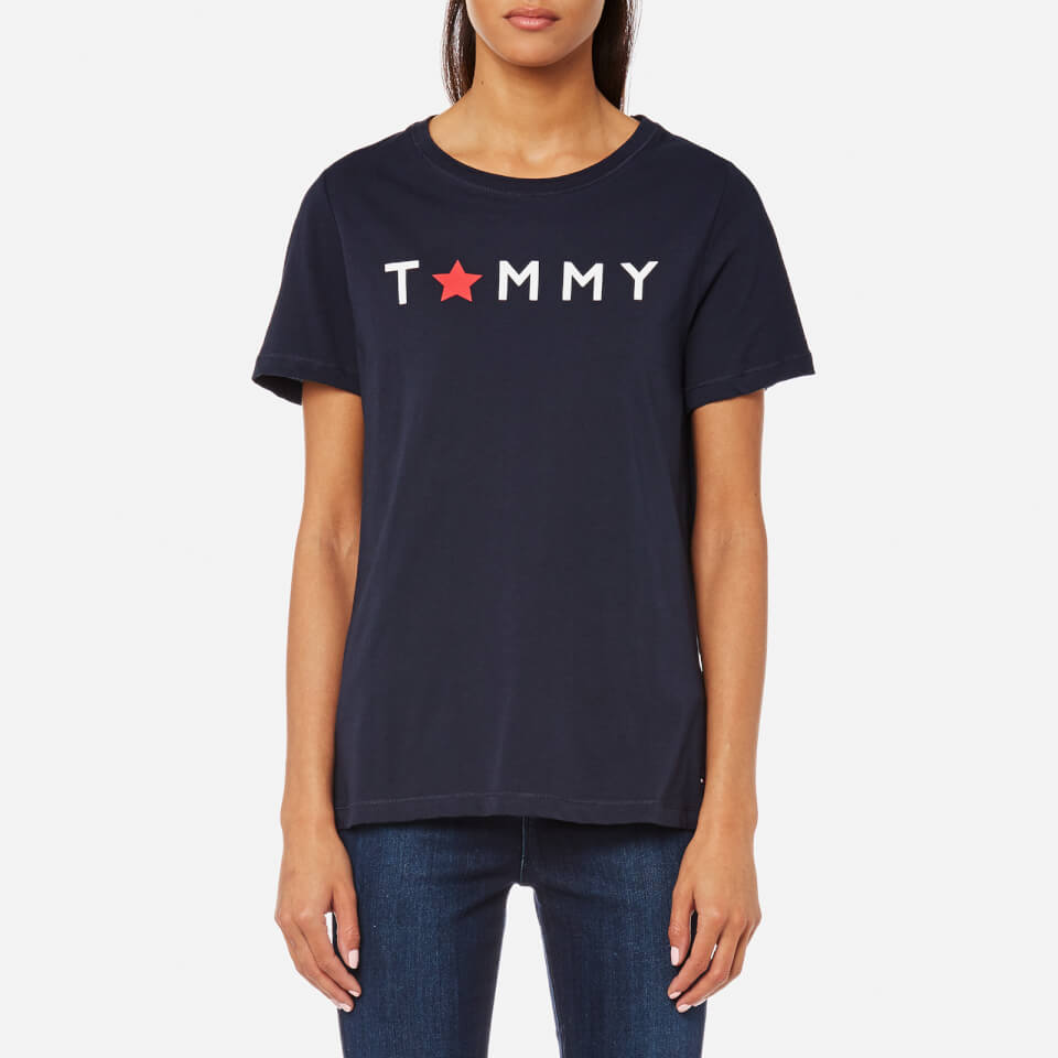 342aaa2e0970 Tommy Hilfiger Women s Star Graphic Crew Neck T-Shirt - Navy Womens  Clothing