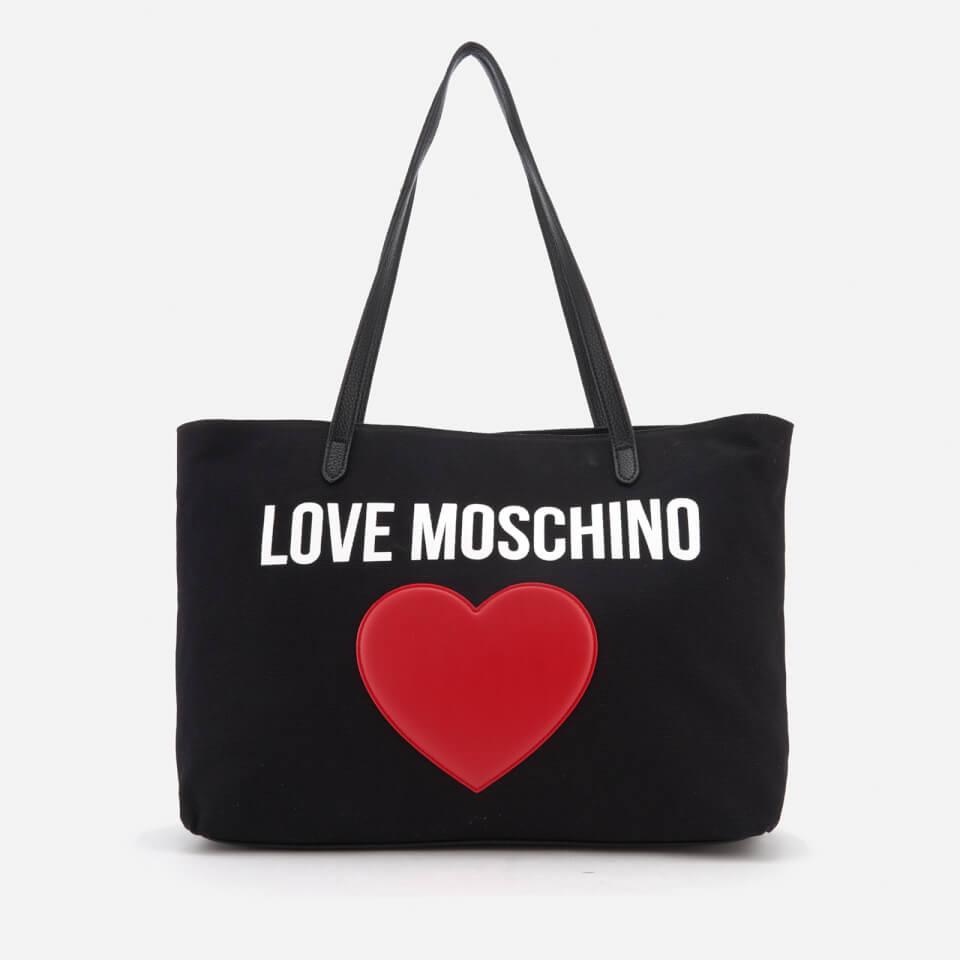 love moschino women 39 s heart logo tote bag black. Black Bedroom Furniture Sets. Home Design Ideas