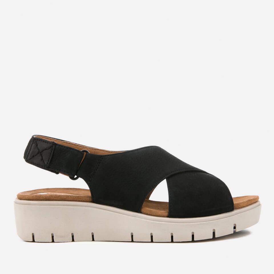 Clarks Women's Un Karely Hail Leather Cross Strap Flatform Sandals Black