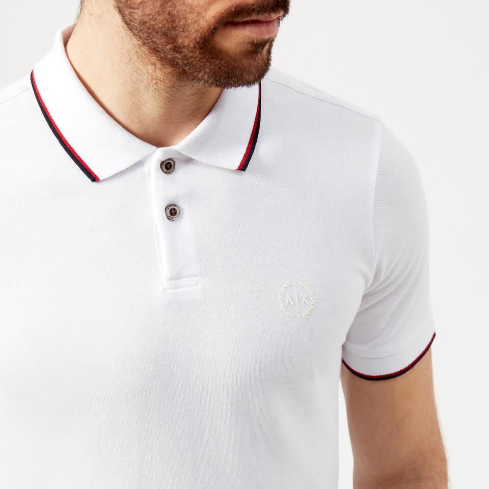 Armani Exchange Mens Tipped Polo Shirt White Clothing Thehut