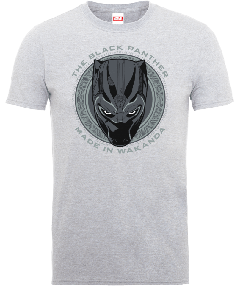 Black Panther Made in Wakanda T-Shirt - Grey   Pop In A Box UK