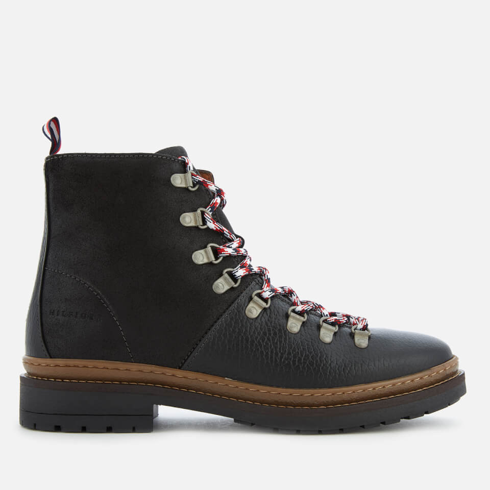 b3296266f5aaba Tommy Hilfiger Men s Elevated Outdoor Leather Hiking Boots - Black ...
