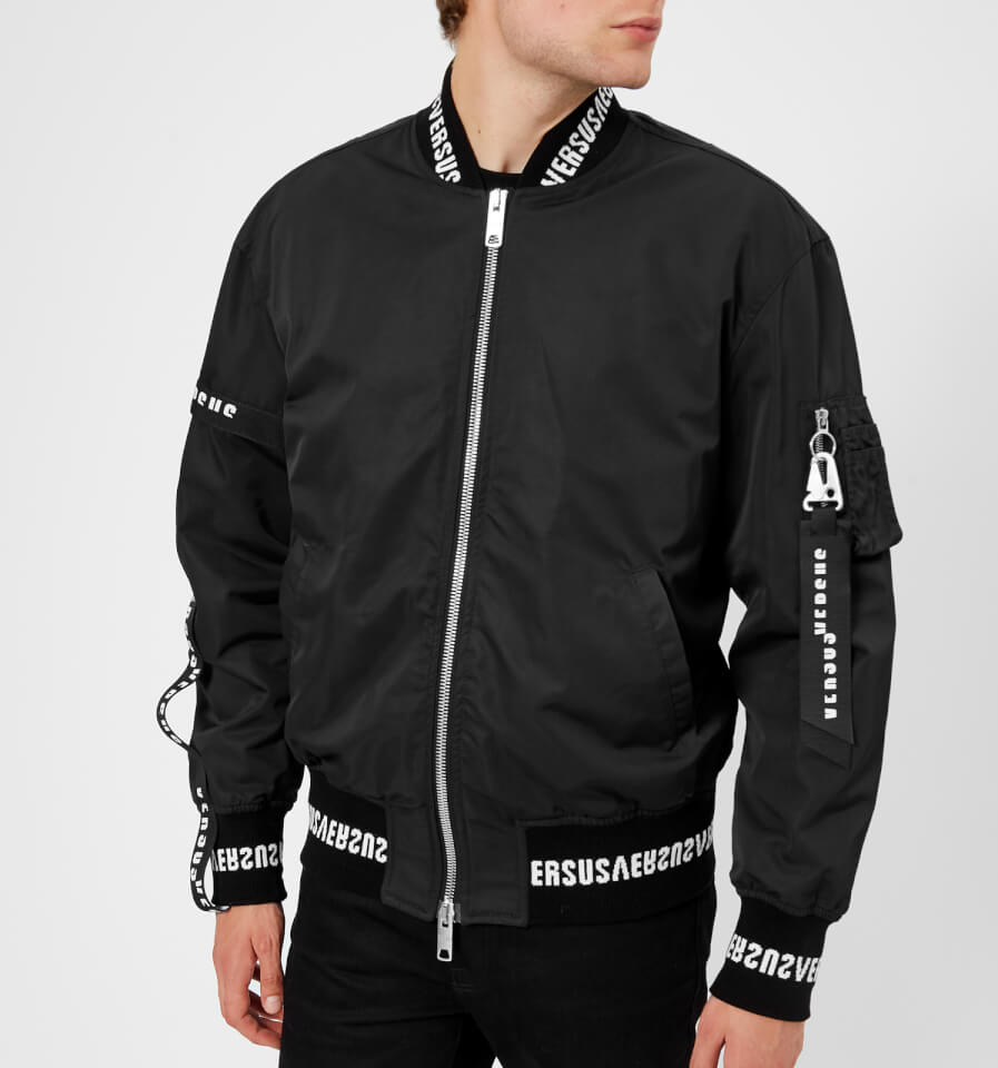 fa8eb0a484 Versus Versace Men s Tape Detail Bomber Jacket - Black - Free UK Delivery  over £50