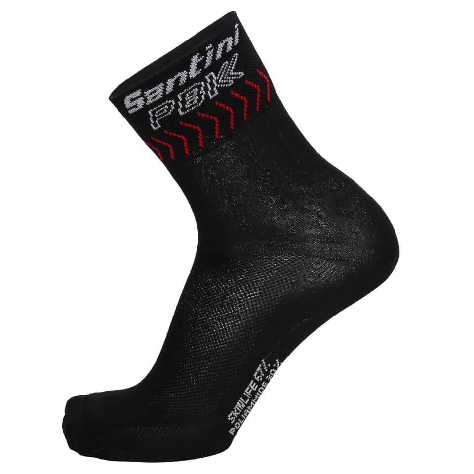 PBK Santini 19 High Profile Cool Max Socks - Black/Red | Strømper