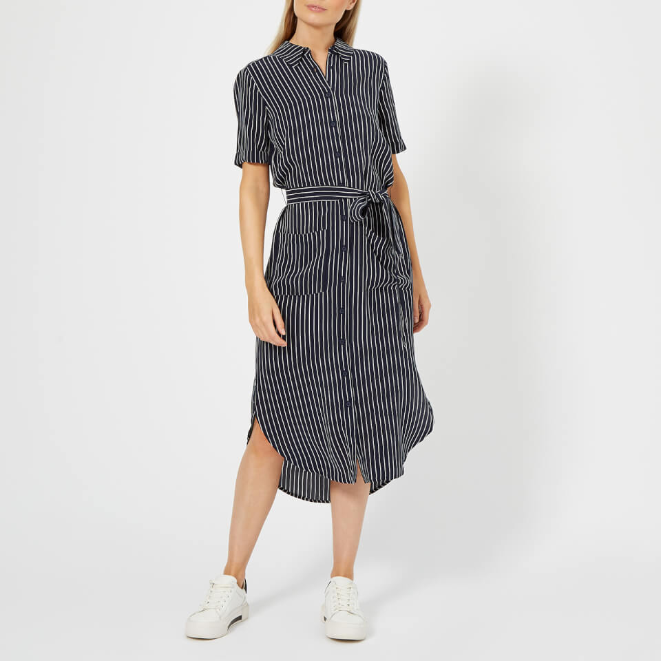 Whistles Womens Montana Longline Stripe Shirt Dress Navymulti