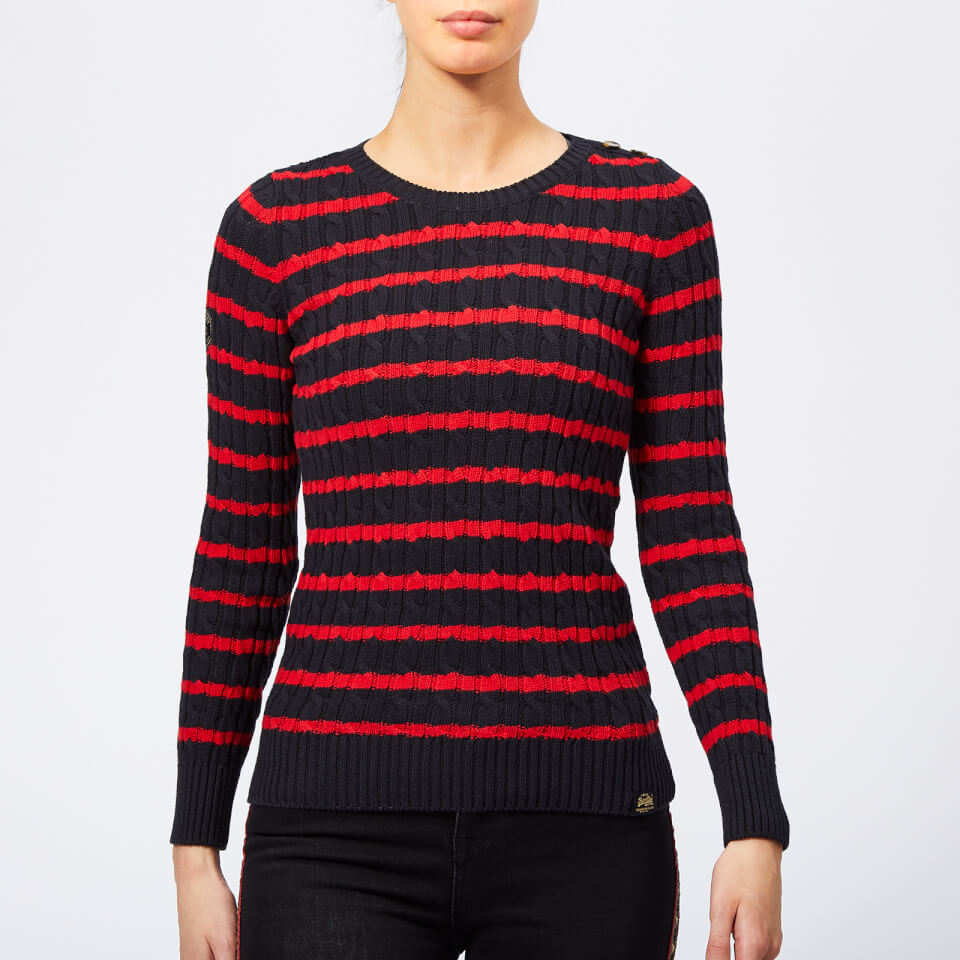 Superdry Women s Croyde Bay Cable Knit Jumper - Navy Red Stripe Womens  Clothing  effd91b20