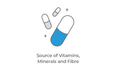 Source of Vitamins, Minerals and Fibre