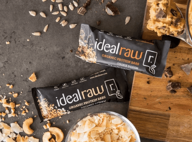 IdealRaw organic protein bars on a table