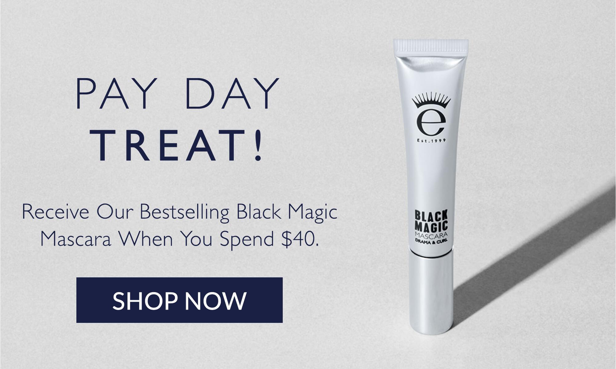 Eyeko Black Magic mascara on grey back ground with model image and swatch